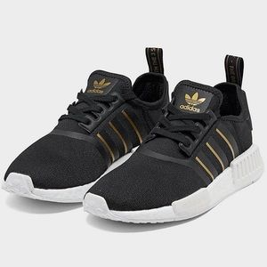 {adidas} NMD R1 Black Met Gold White Sneakers
